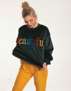 Beautiful Green Velvet Sweatshirt