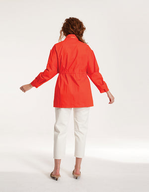 Oversized Jacket with Pearls in Orange