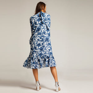 Porcelan Print White and Blue Peplum Dress