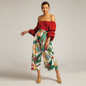 Tropicana Floral Trousers in White