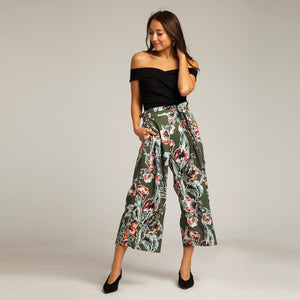 Tropicana Floral Trousers in Green