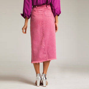 Button Through Midi Denim Skirt in Pink