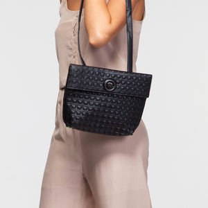 Faux Leather Envelope Bag in Black