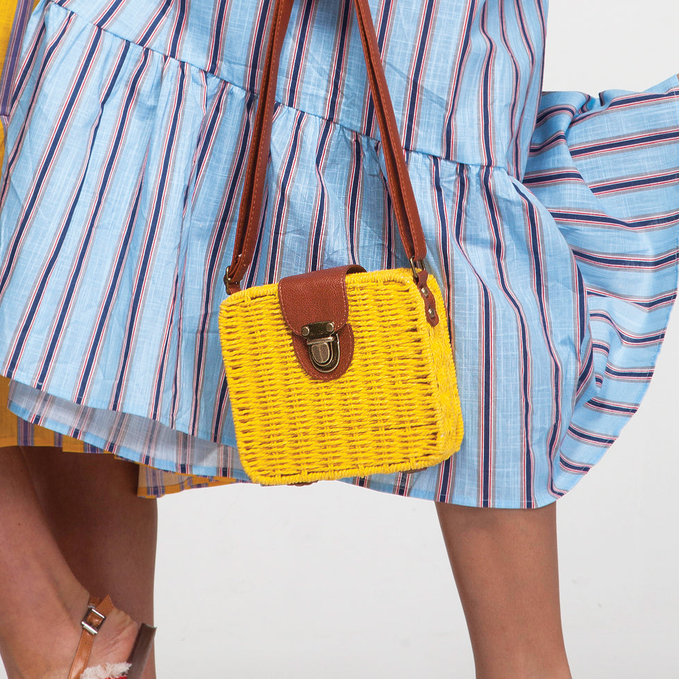 Square Straw Bag in Yellow