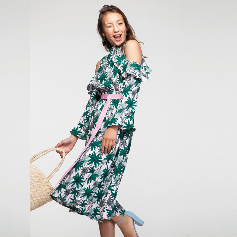 Tropical Print Long Sleeves Midi Dress