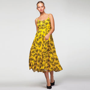 Vacay Maxi Dress In Yellow Palm Trees Print