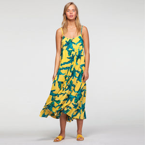 Vacay Maxi Dress In Yellow Tropical Print