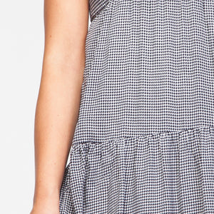 Midi Peplum Checked Dress