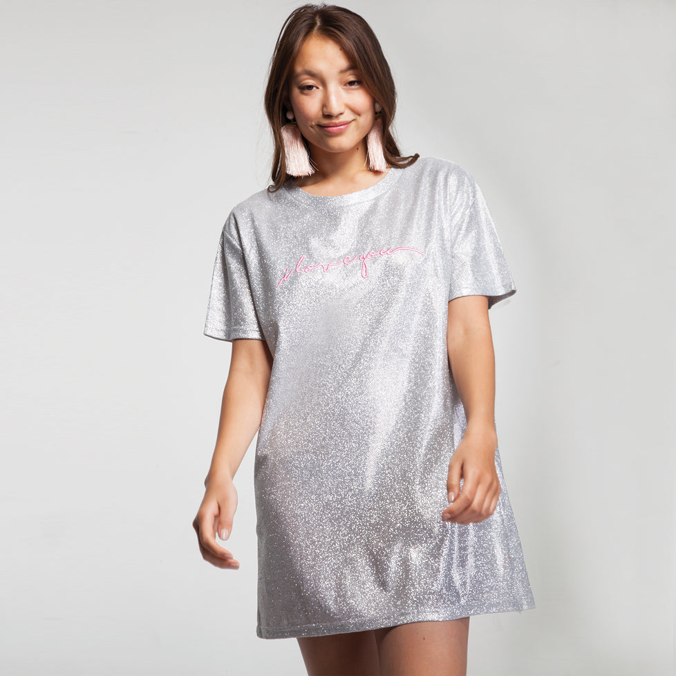 831242a1090f Sparkly Mini T Shirt Dress with