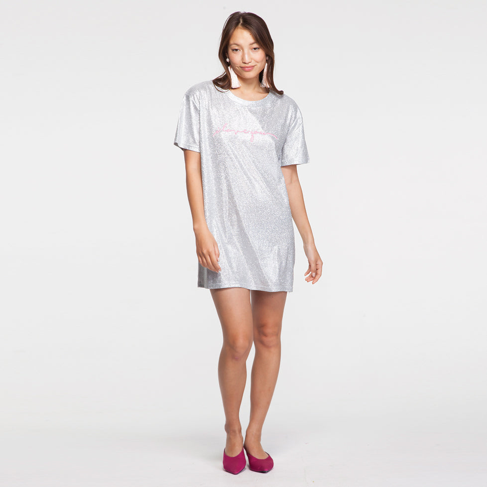 "Sparkly Mini T Shirt Dress with ""I Love You"" Embroidery"