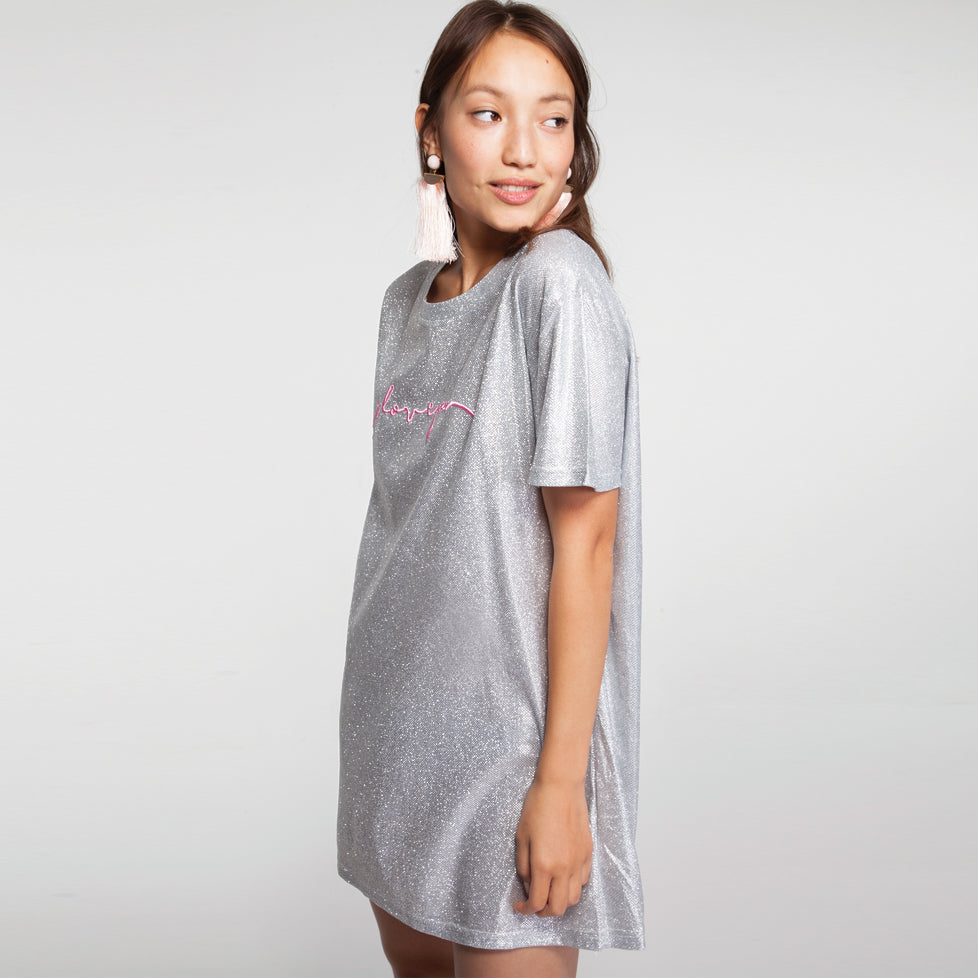 41781a68e0c9 Sparkly Mini T Shirt Dress with