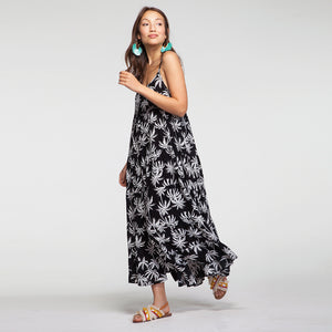 Vacay Maxi Dress In Black Palm Trees Print