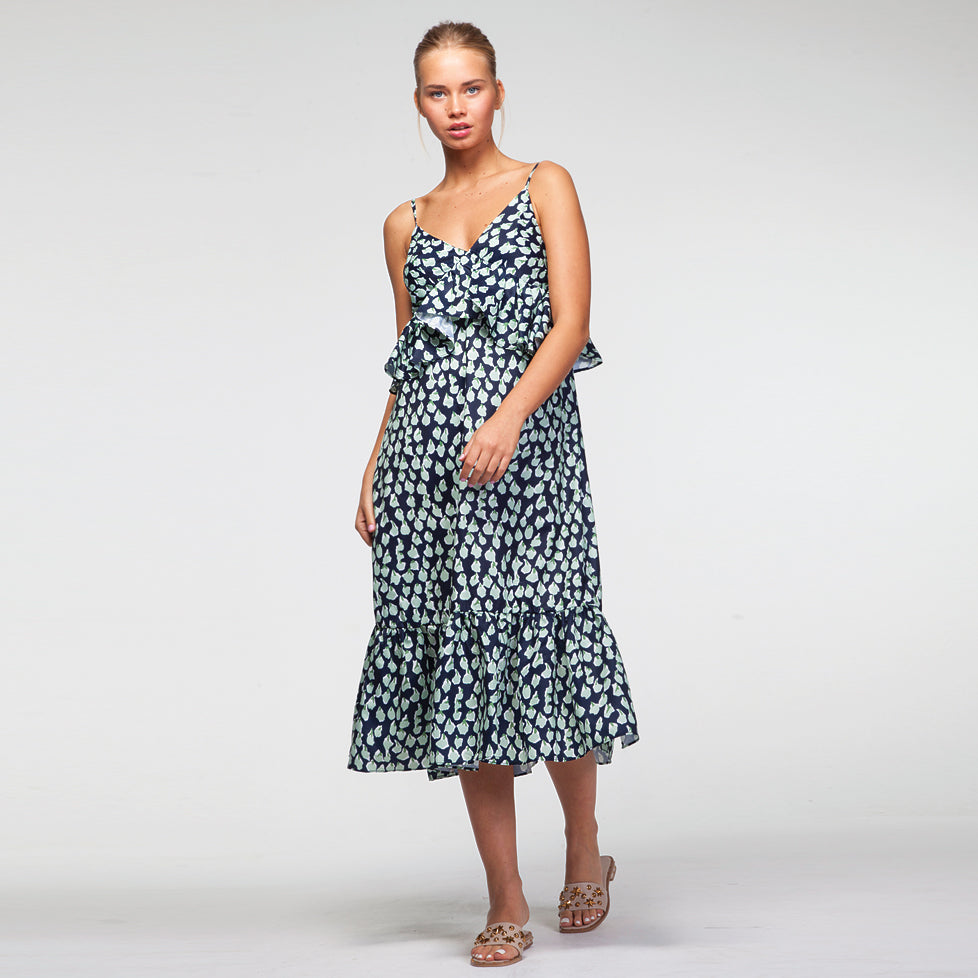 V Neck Midi Pephem Dress in All Over Light Green Print