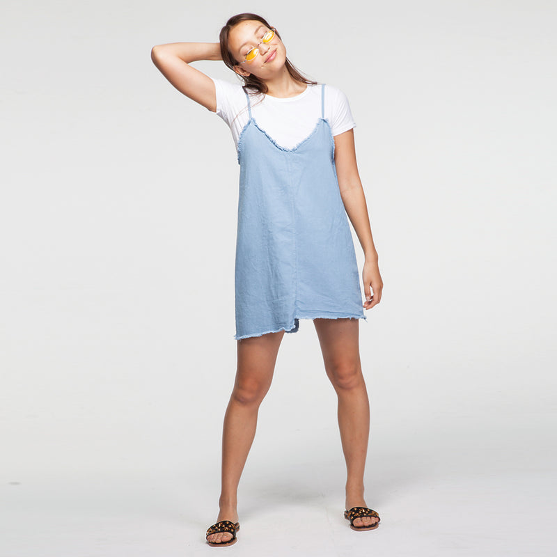 Denim Dress with a T Shirt in Yellow / Light Blue