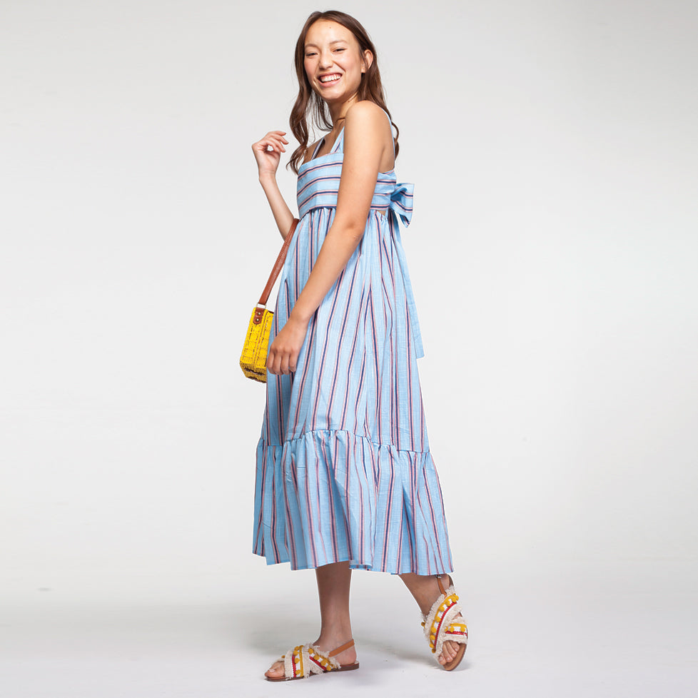 Linen Pep Hem Midi Dress in Light Blue and Strips