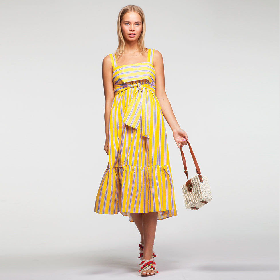 Linen Pep Hem Midi Dress in Yellow and Strips