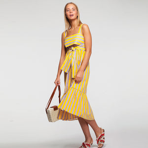 Linen Pep Hem Midi Dress in Strips