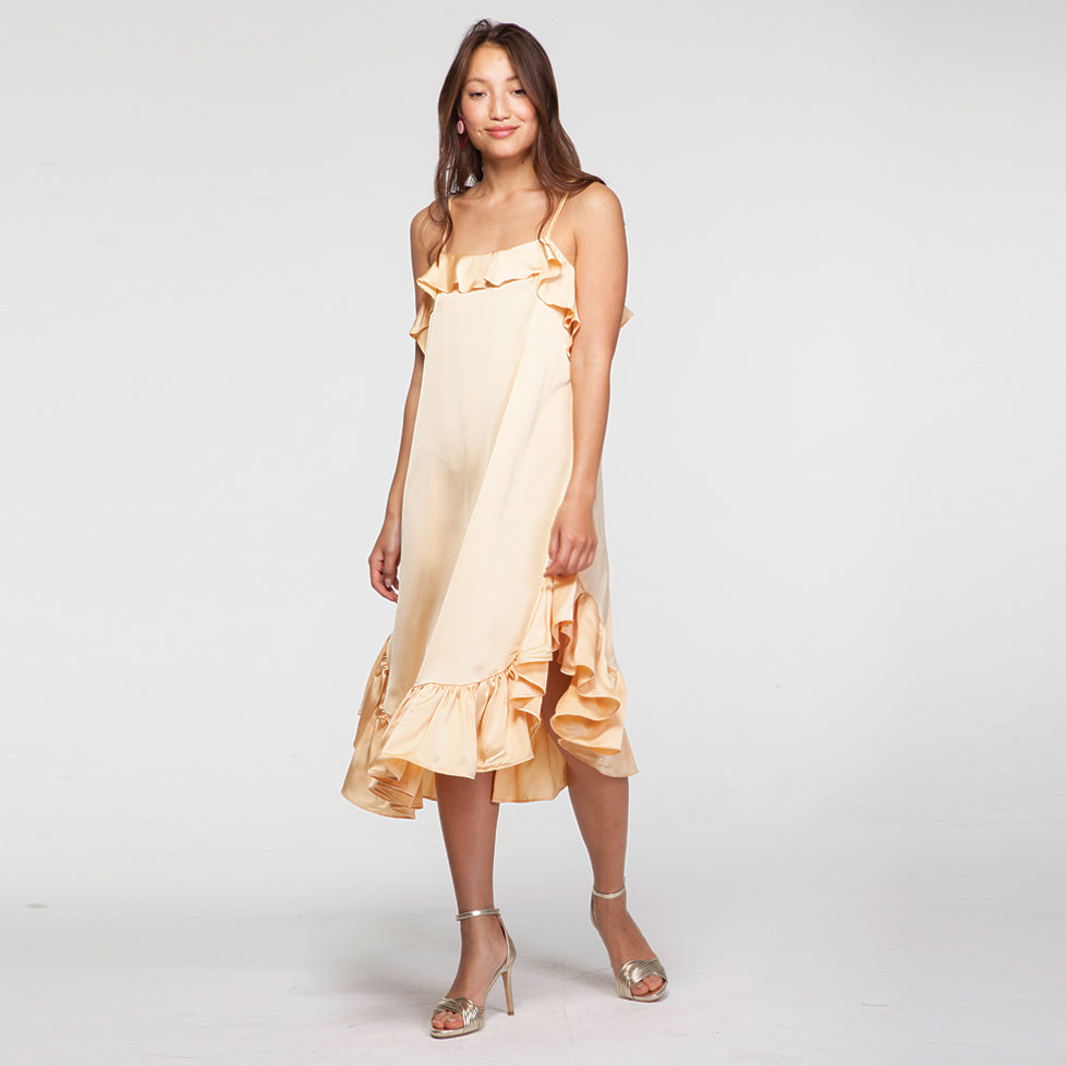 Pep Hem Midi Satin Slip Dress in Yellow