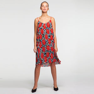 Midi Plisse Dress in Floral Red