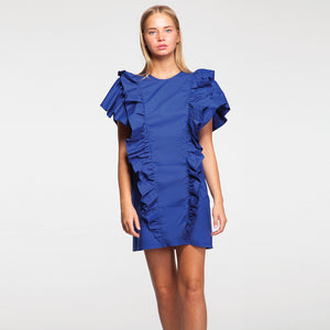 Ruffle Mini Cocktail Dress in Blue