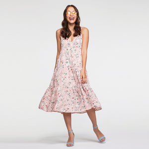 Midi Floral Print Peplum Dress in Pink