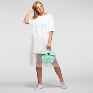 Drama Midi T Shirt Dress with Tull in White