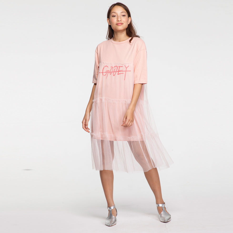 Drama Midi T Shirt Dress with Tull in Pink