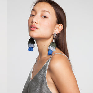 Blue Tassel Drop Earrings