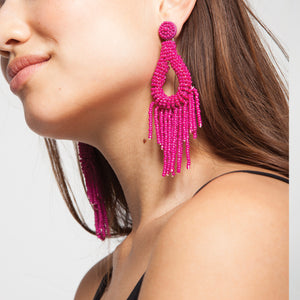 Bead Tassel Earrings in Pink