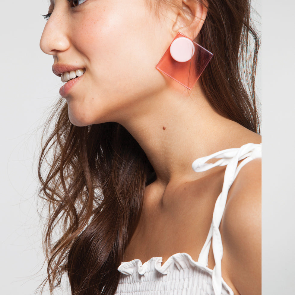 Pink Square Perspex Earrings
