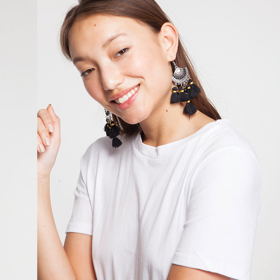 Tassel Drop Earrings in Black