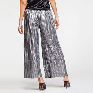 Plisse Metal Pants in Silver