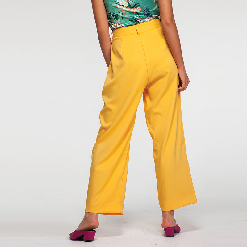 High Waist Tailored Pants in Yellow
