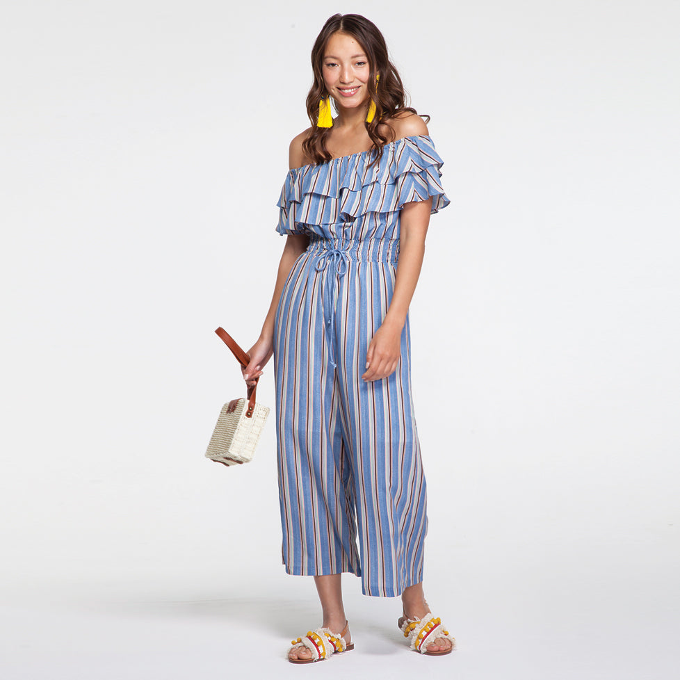 Off Shoulder Jumpsuit in Stripes