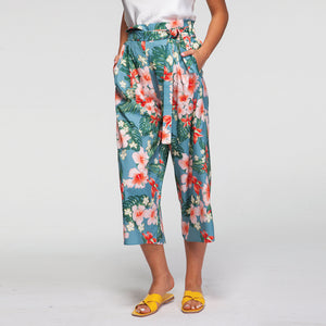 Tropicana Floral Trousers in Turquoise