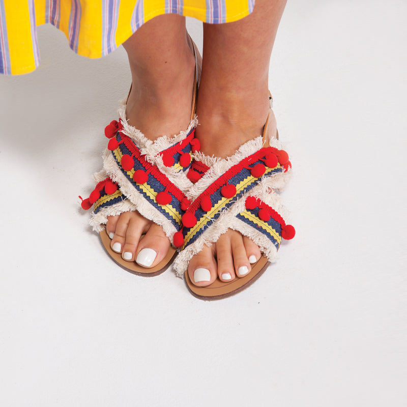 Pom Pom Flat Sandals in Blue