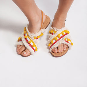 Pom Pom Flat Sandals in Yellow