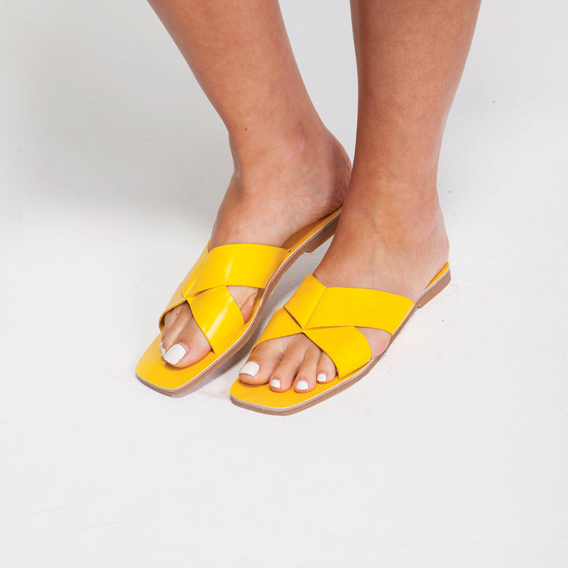 Flat X Yellow Sandal