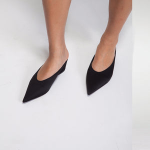 Black Mid Heel Mules in Satin