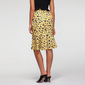 Leopard Print Pephem Midi Skirt in Yellow