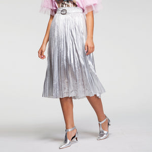 Metal Plisse Midi Skirt in Silver