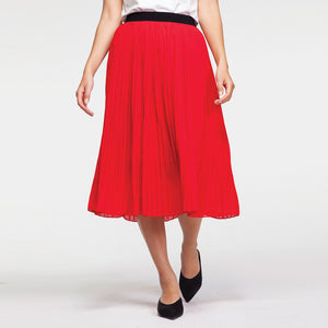 Plisse Midi Skirt in Red