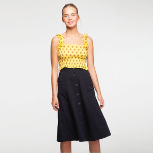 Button Through Midi Skirt in Black