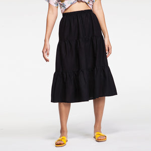 Linen Midi Skirt in Black