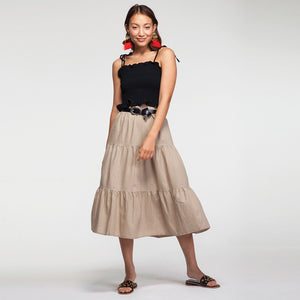 Linen Midi Skirt in Beige