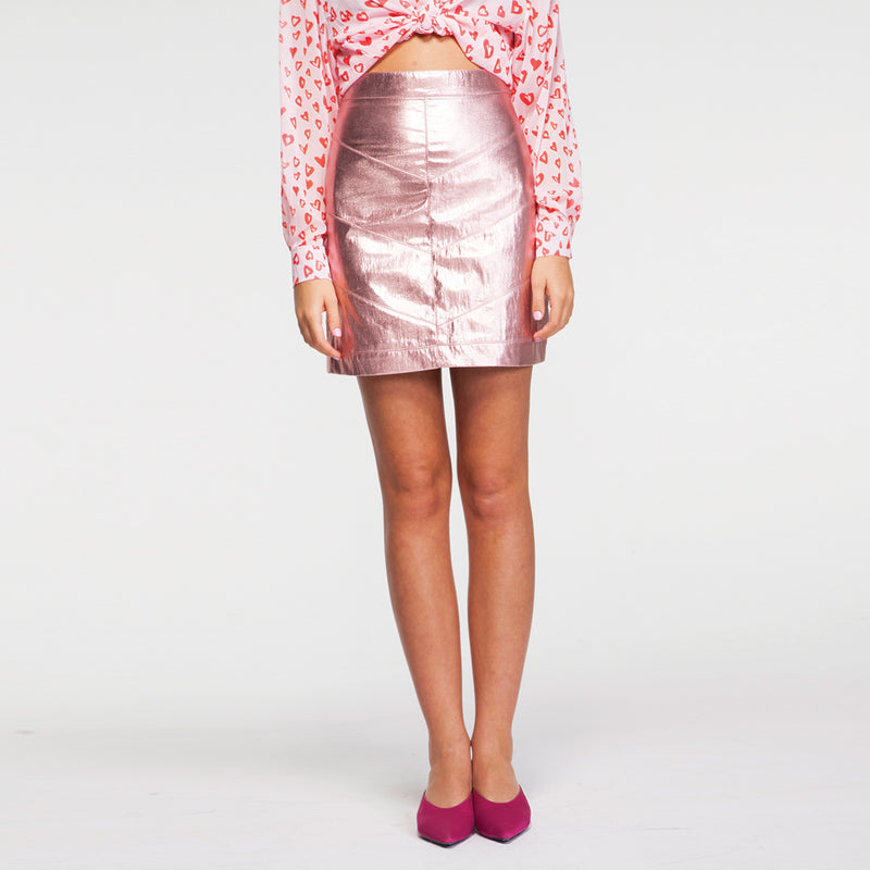 Metal Pink Mini Skirt