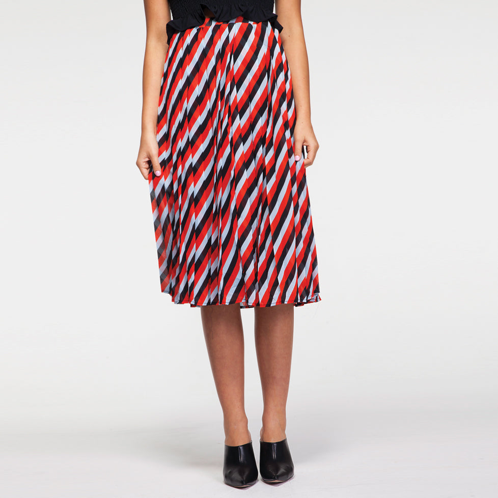 Plisse Midi Skirt in Stripes