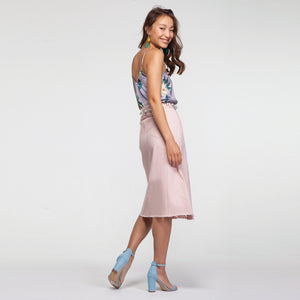 Denim Skirt with Front Split and Raw Hem in Powder Pink