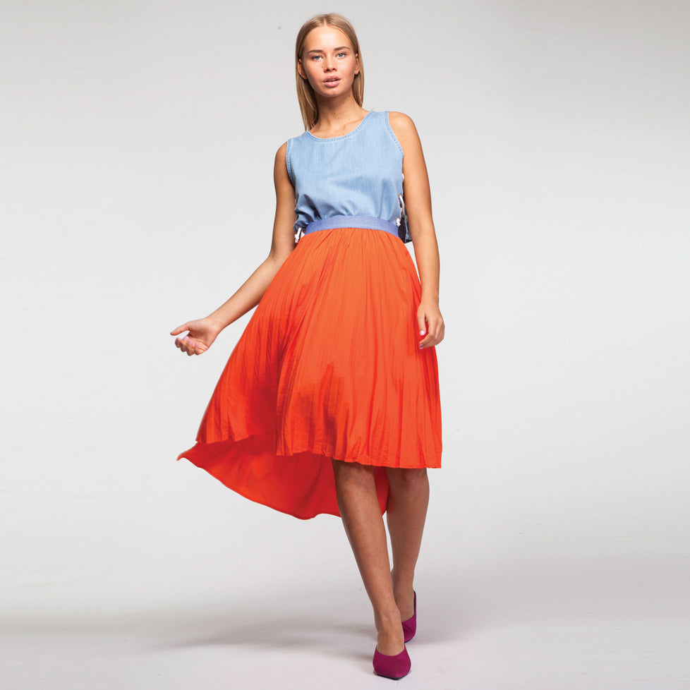 Midi Plisse Skirt in Orange