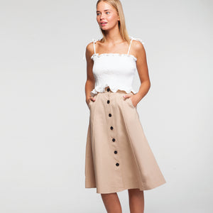 Button Through Midi Skirt in Beige